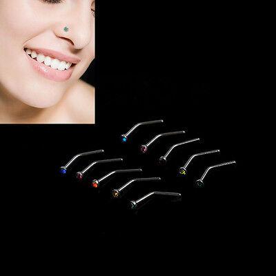 10x Rhinestone Stainless Steel Screw Nose Hoop Ring Stud Body Piercing LoveBLCA 3