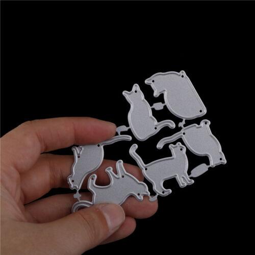 6pcs cat metal cutting dies stencil scrapbook paper cards craft embossing PN~