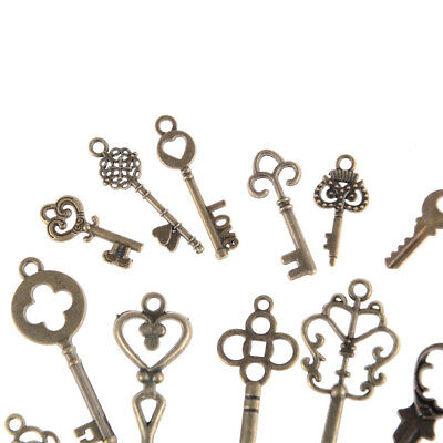 13pcs Mix Jewelry Antique Vintage Old Look Skeleton Keys Tone Charms Pendants KQ 5