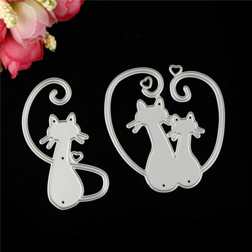 Love Cat Design Metal Cutting Dies For DIY Scrapbooking Album Paper Card Cw 4
