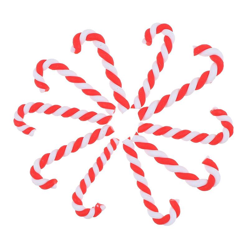 10pcs Noël canne résine Cabochon Flatback pour téléphone embellissement Decor