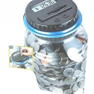 Coin Auto Counting MONEY JAR Cup Digital LCD Automatic Counter Piggy Bank Change 8