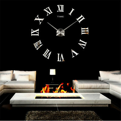 DIY 3D Wall Clock Roman Numerals Large Mirrors Surface Luxury Big Art Clock UK 2