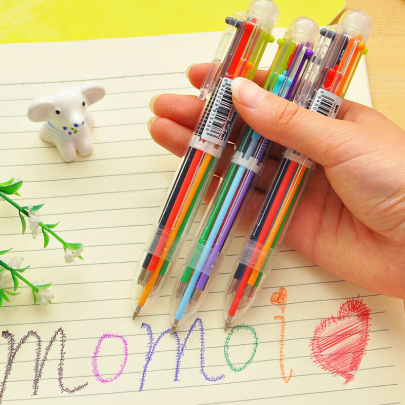 New Design 6 in 1 Color Ballpoint Pen Multi-color Ball Point Pens School Supply 2