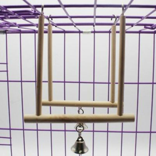 Birds Perch Parrot Play Toy Stand Holder natural Wooden Swing Bell Cage Hangi KY 4