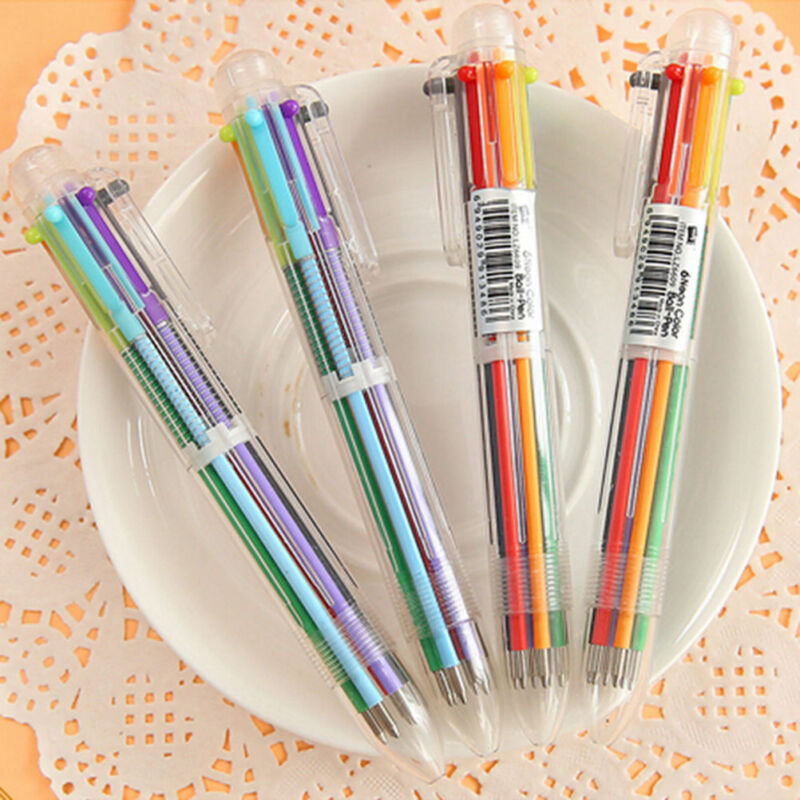 New Design 6 in 1 Color Ballpoint Pen Multi-color Ball Point Pens School Supply 5