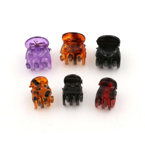 12pcs 6 Colors 1.5cm Small Mini Plastic Black Hair Clips Claws Clamps 0O