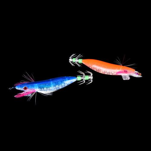 10 cm leuchtende Nacht Fischerei Köder Tintenfisch Egi Garnelen Klemme Haken X