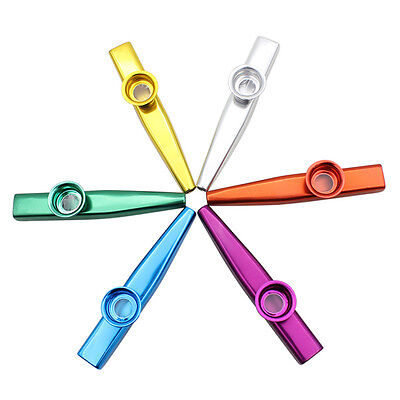 1X Kazoo Metal with Flute Diaphragm Gift for Kids Music Lovers 6 Colors H&T