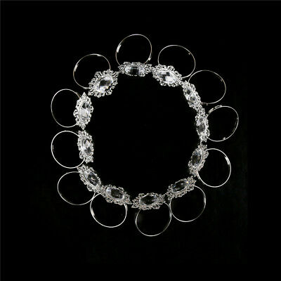 12Pcs Acrylic Silver Wedding Napkin Rings Round Towel Ring Holders Banqu P9T4 1X