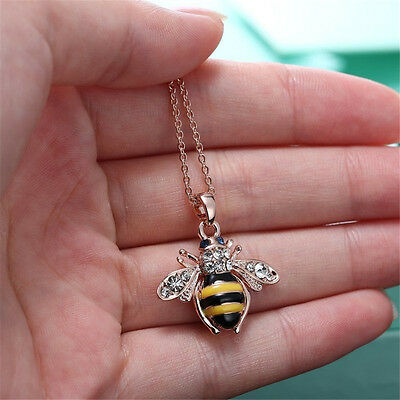 Unique Women Honey Bumblebee Bee Crystal Pendant Chain Necklace TCUS