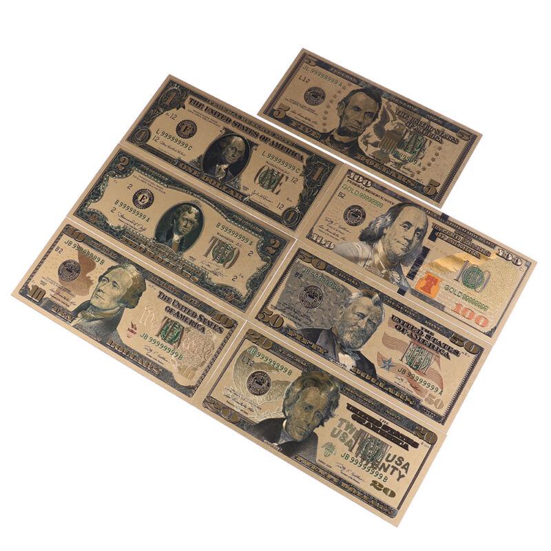 7Pc//set commemorative gold foil USA dollars paper money banknotes collections ES