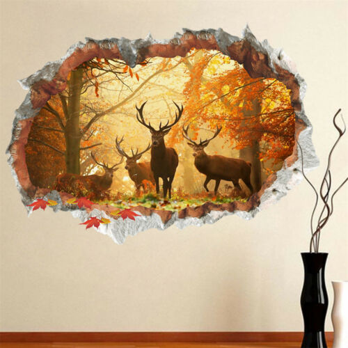 Forest Deer Wall Stickers 3D Wall Decals Poster Mural Living Room Home Decor DD