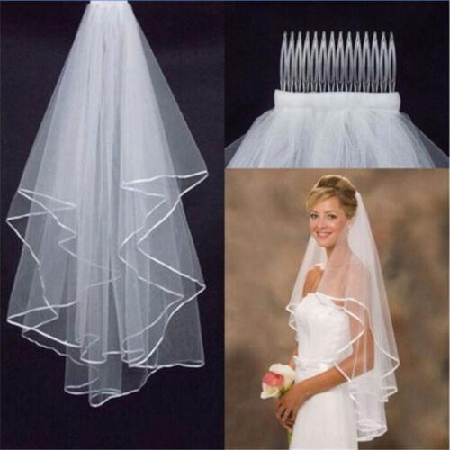 Elegant White Elegant Beauty Two Layers Short Net Tulle Bride Veil For Wedding 2