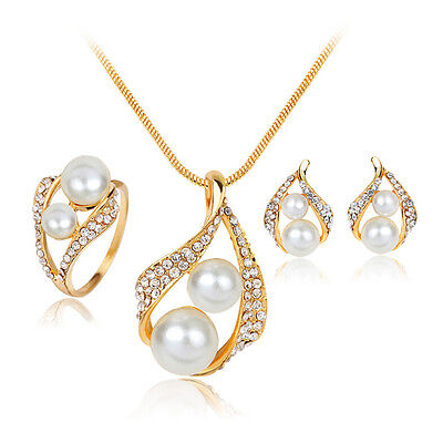 New Bridal Bridesmaid Wedding Jewelry Set Crystal Pearl Necklace Earrings Ring B 3