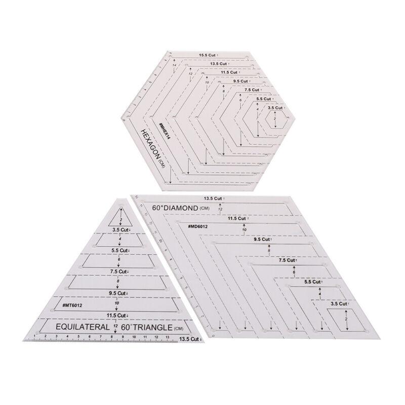 """5X Hexagon Acryl Quilten Schablone Nähen Patchwork Sticken Handwerk 1,5/"""" 3,5/"""""""