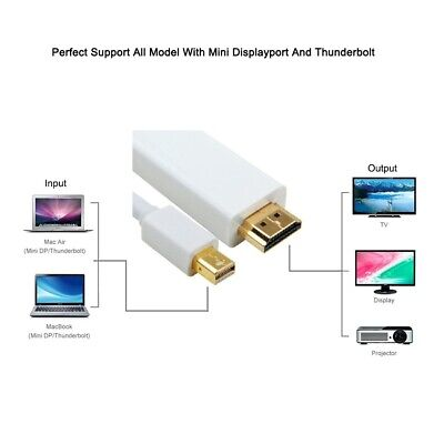 2M Thunderbolt Mini DisplayPort to HDMI TV Cable Adapter for MacBook Pro iMac 10