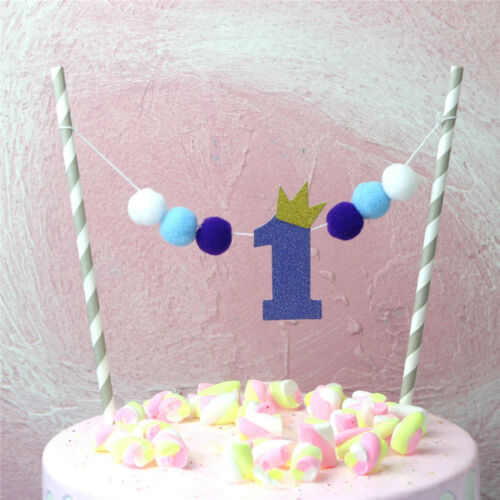 ONE Year Pompon Cake Toppers First Birthday Flag Baby Shower Party Decor HQ 2 Von 9