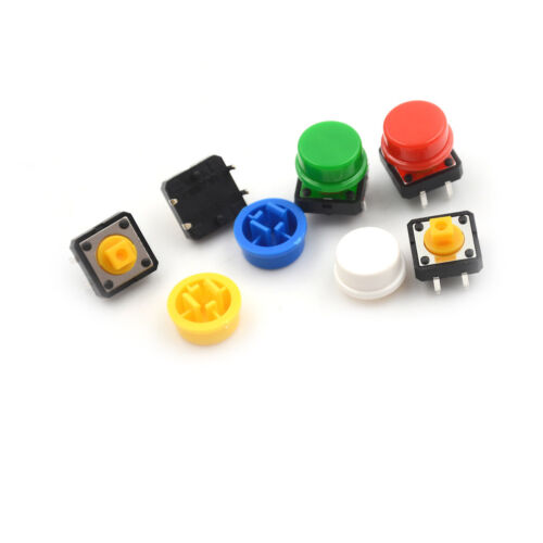 25Set Momentary Tactile Push Button Touch Micro Switch 4P PCB Cap 12x12x7.3mm TW 5