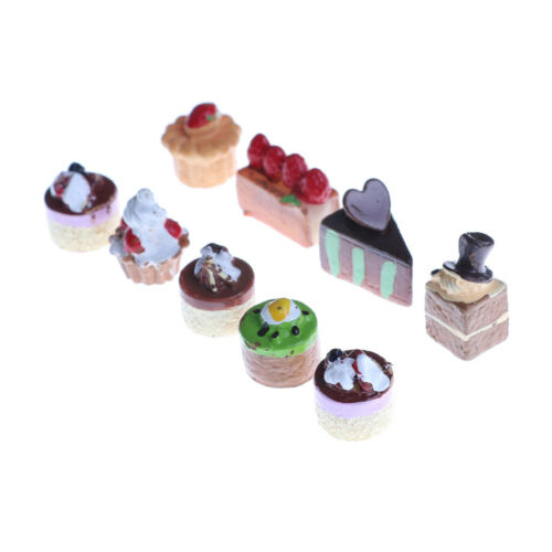 8Pcs Dollhouse Miniature Food Chocolate Strawberry Cakes Cupcake Toys PBP