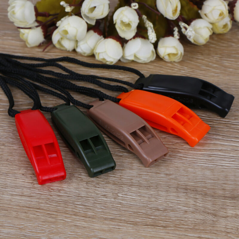 5pcs/set Dual Band Survival Whistle Lifesaving Emergency Whistle With Rope. 4