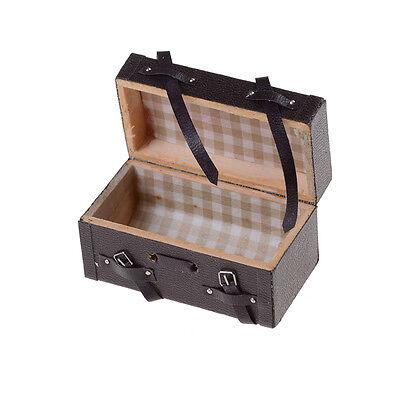 Fashion Retro 1:12 Dollhouse Miniature Leather Wood Suitcase Mini Luggage Box BS 2