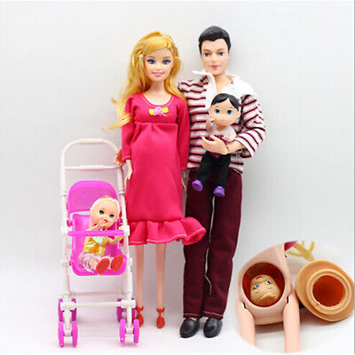 UK 6pcs/lot Dolls Family Educational Real Pregnant Doll Happy Family for Barbie 3