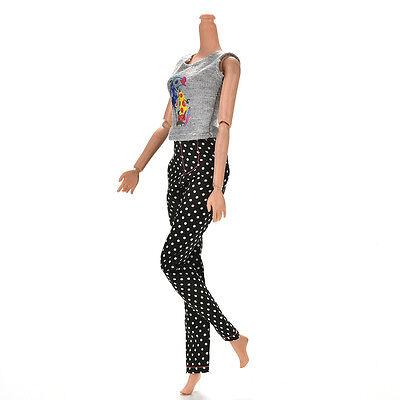 """1 Set Fashion Gray Vest Black Pants for 11"""" s Dolls ÖÖ 4"""