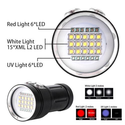 Tauchen Licht Unterwasser Video LED Fotografie Taschenlampe Lampe WRXJ