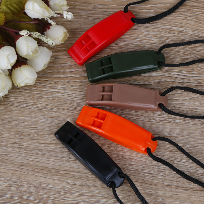 5pcs/set Dual Band Survival Whistle Lifesaving Emergency Whistle With Rope. 3