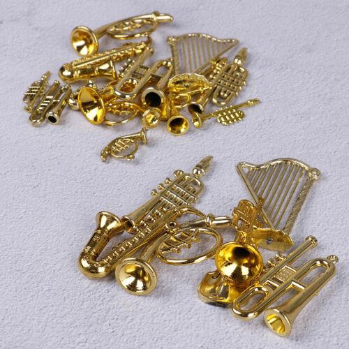 Mini Plastic Musical Instrument Gold Christmas Tree Hanging Decoration HF