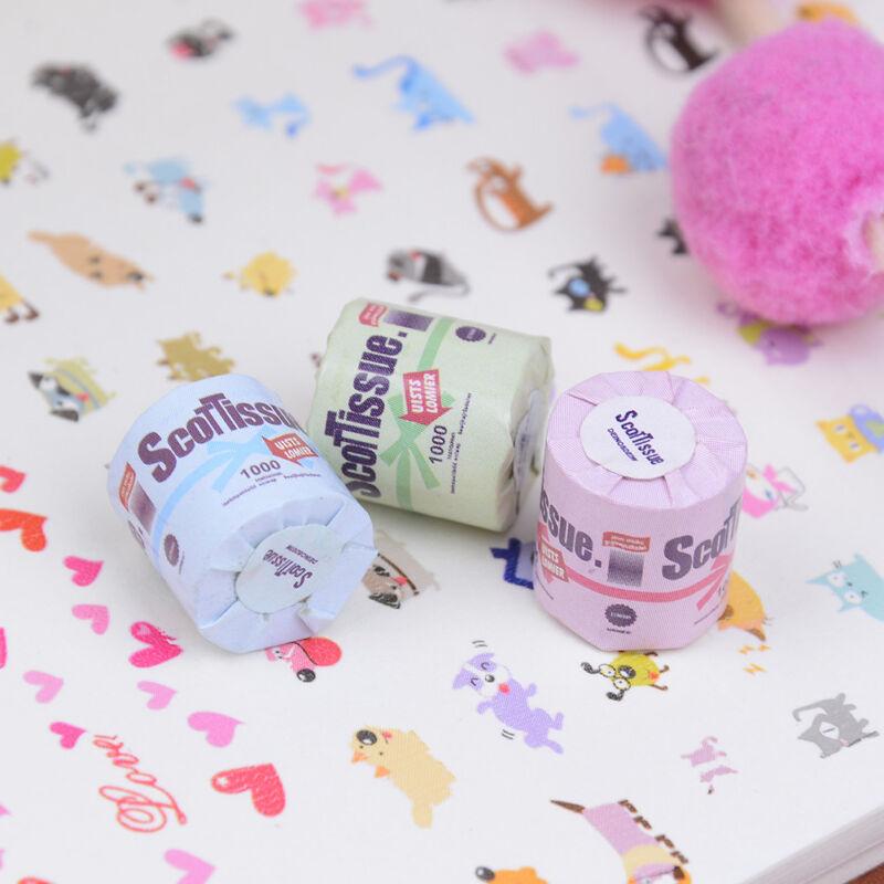 3Pcs Roll of bathroom tissue toilet paper 1:12 dollhouse miniature toy BHUS