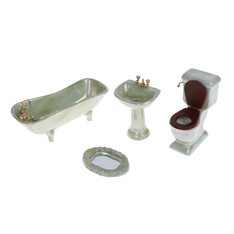 4-teiliges Badezimmer M/öbelset Toilette und Spiegel f/ür 1:12 Puppenhaus Typ 1 Waschbecken Wei/ße Badewanne