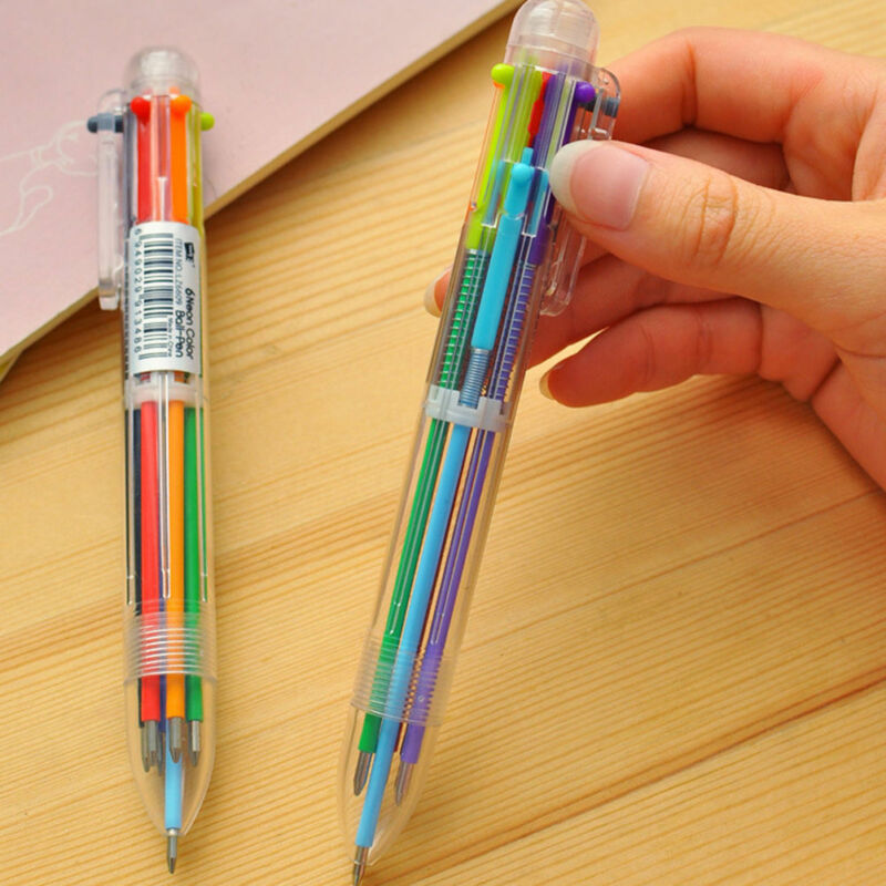 New Design 6 in 1 Color Ballpoint Pen Multi-color Ball Point Pens School Supply 4