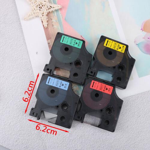 Compatible for DYMO 12mm D1 Black on Color Label Tape 1/2'' LabelManager RefilFI 7