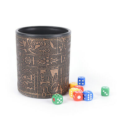 1 pc High Quality Brown Leather Rune Dice Cup PU leather 82x82x91mm  P/&T