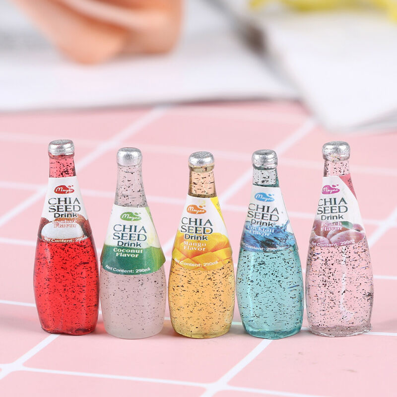 5Pcs 1/12 Miniature food mini fruit drink model for dollhouse kitchen toys 6