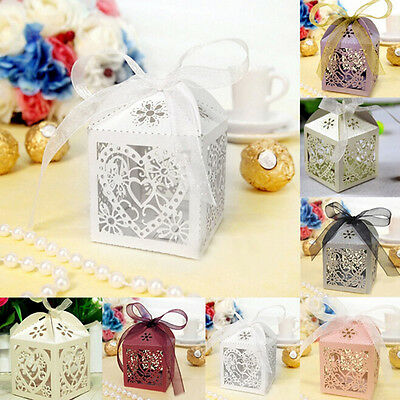 10-50 Laser Cut Love Heart Wedding Candy Gift Boxes Ribbon with Mini LED Lights