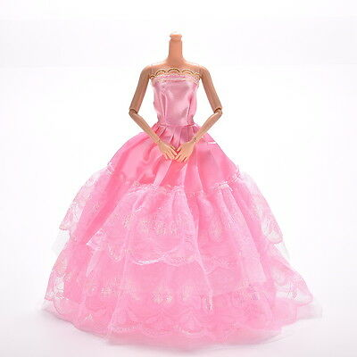 1 Pc Lace Pink Party Grown Dress for Pincess  s 2 Layers Girl's Gif PVCA 2