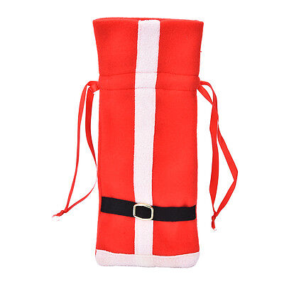 Christmas Santa Suit Costume Wine Bottle Gift Bag Wrapping Cover Pouch Sack FT 3 • AUD 50.99