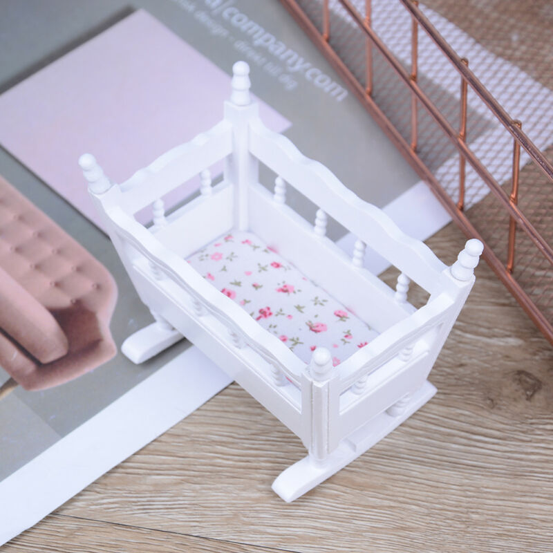Dollhouse miniature white wooden baby rocking cradle crib nursery room TDO