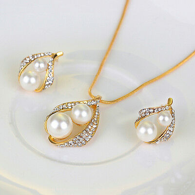 New Bridal Bridesmaid Wedding Jewelry Set Crystal Pearl Necklace Earrings Ring B 2