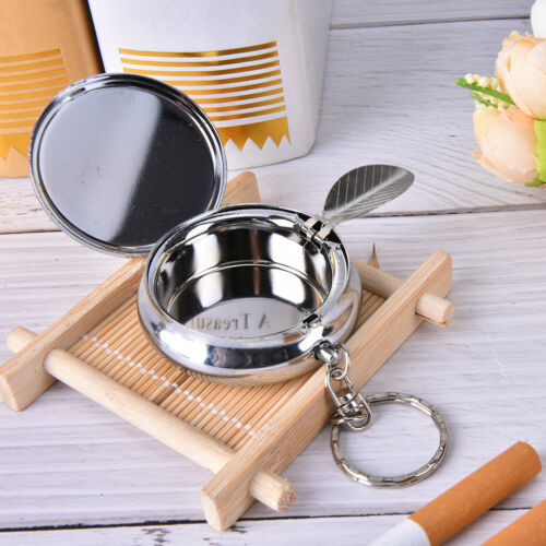 Creative Round Cigarette Keychain Portable Stainless Steel Pocket Ashtray fi 7