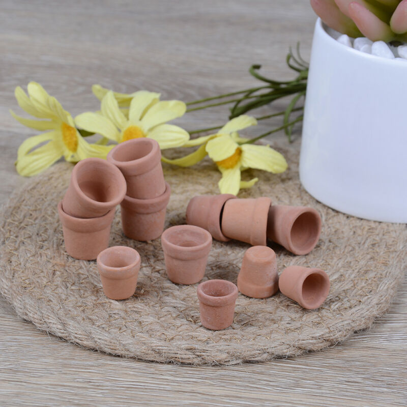 HOT 12Pcs Dollhouse 1:12 Miniature Flower Handmade Red Clay Pot Garden Home #.