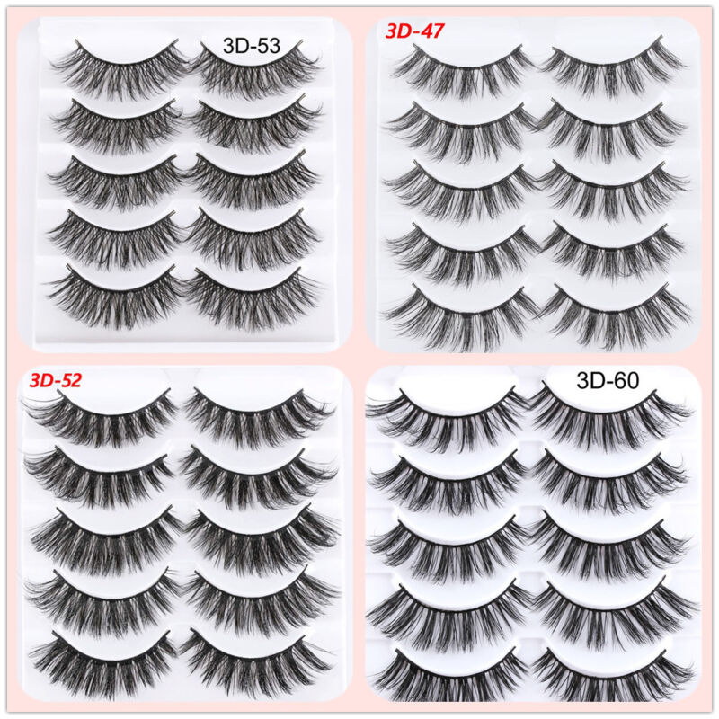 5Pairs 3D Faux Mink Hair False Eyelashes Extension Wispy Fluffy Think Lashes. 5
