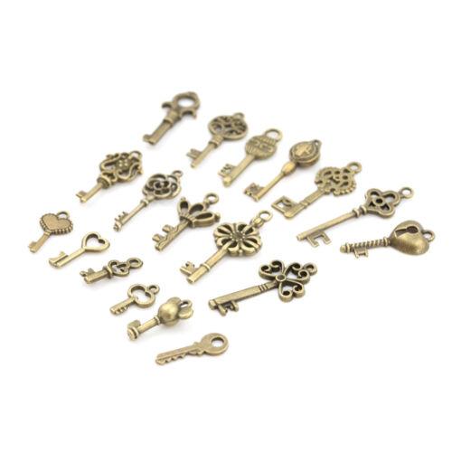 18pcs Antique Old Vintage Look Skeleton Keys Bronze Tone Pendants Jewelry DIY RR 4