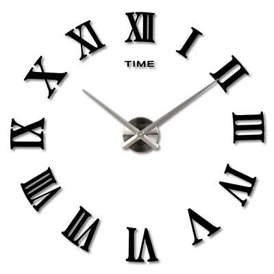 DIY 3D Wall Clock Roman Numerals Large Mirrors Surface Luxury Big Art Clock UK 5