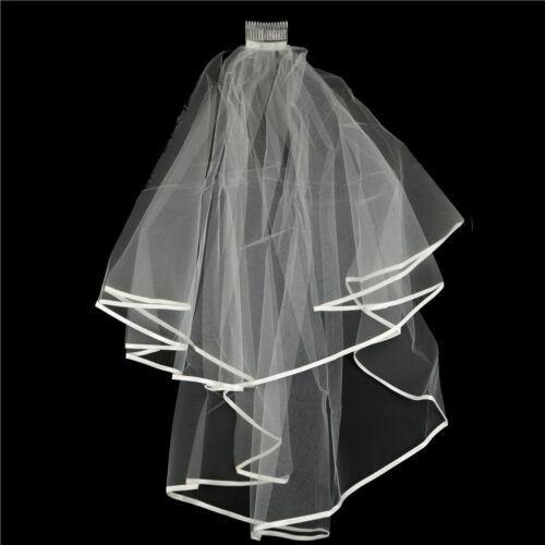 Elegant White Elegant Beauty Two Layers Short Net Tulle Bride Veil For Wedding 5