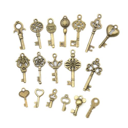 18pcs Antique Old Vintage Look Skeleton Keys Bronze Tone Pendants Jewelry DIY RR 3