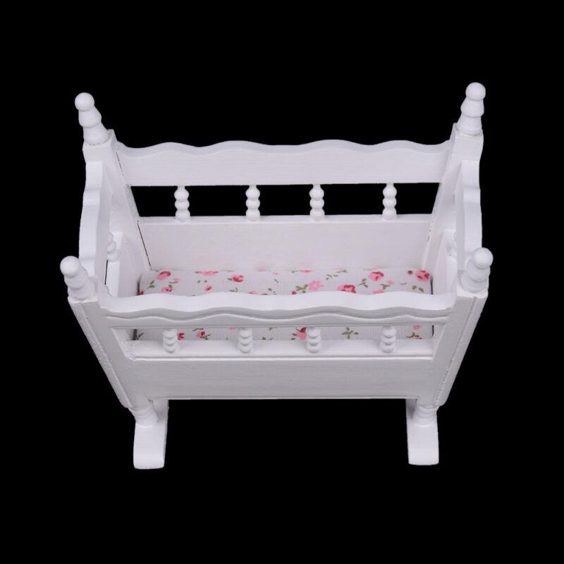 Dollhouse miniature white wooden baby rocking cradle crib nursery room GXNMUS nx